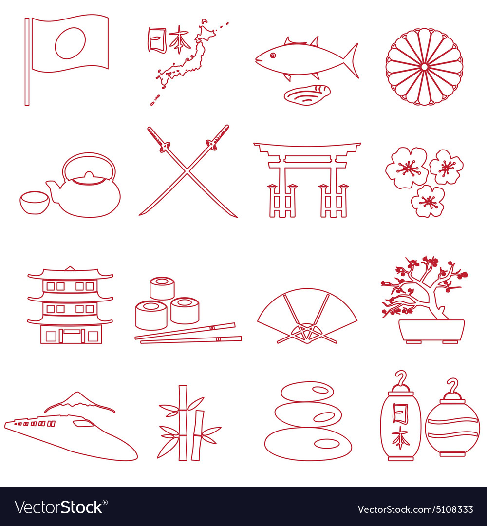 Simple japan theme outline icons set eps10 vector image