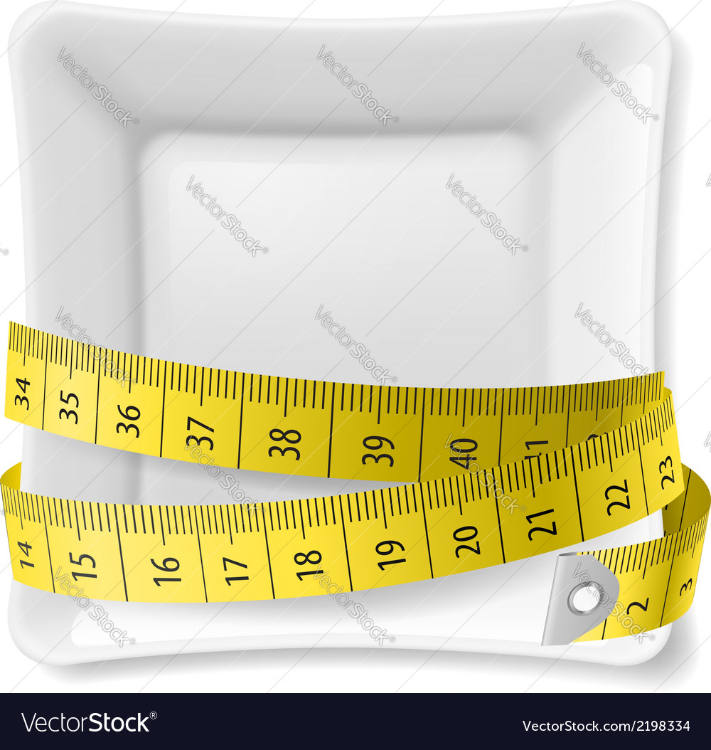 Plate and tape measure vector image