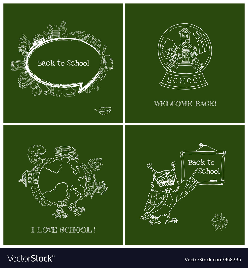 Set of Back to School Cards vector image