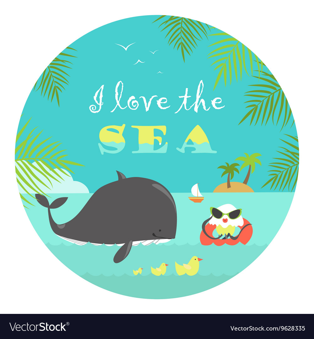 Whale and jellyfish swiming in the sea vector image