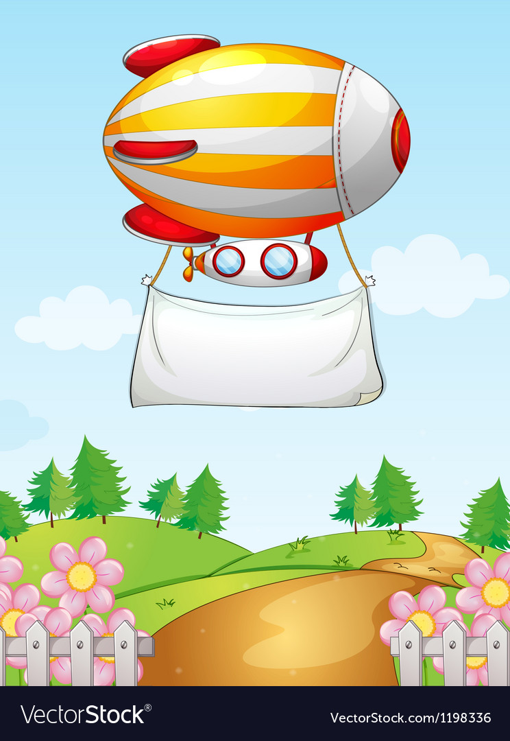 A blimp with a banner Vector Image