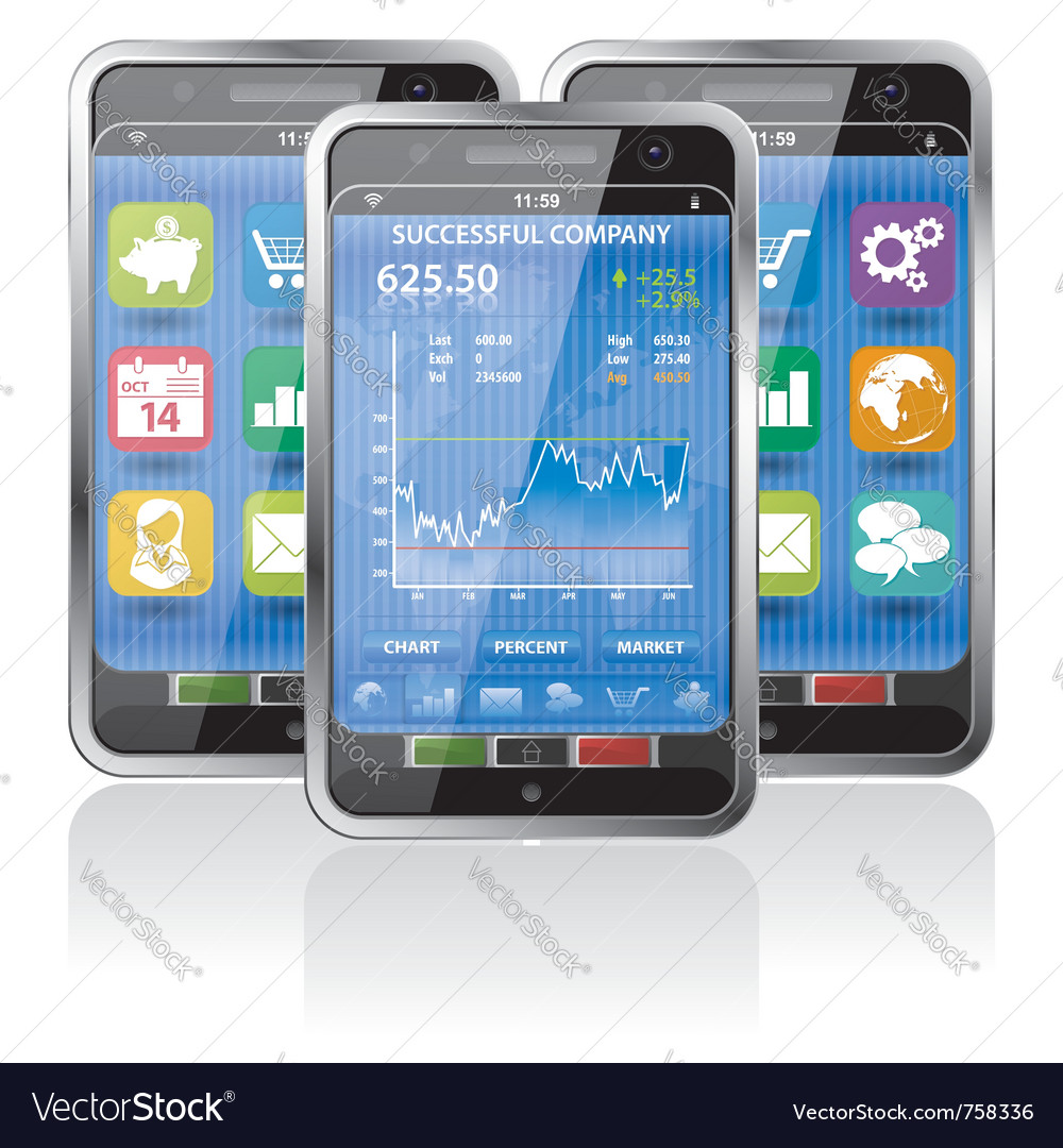 Smart phones stock exchange Vector Image