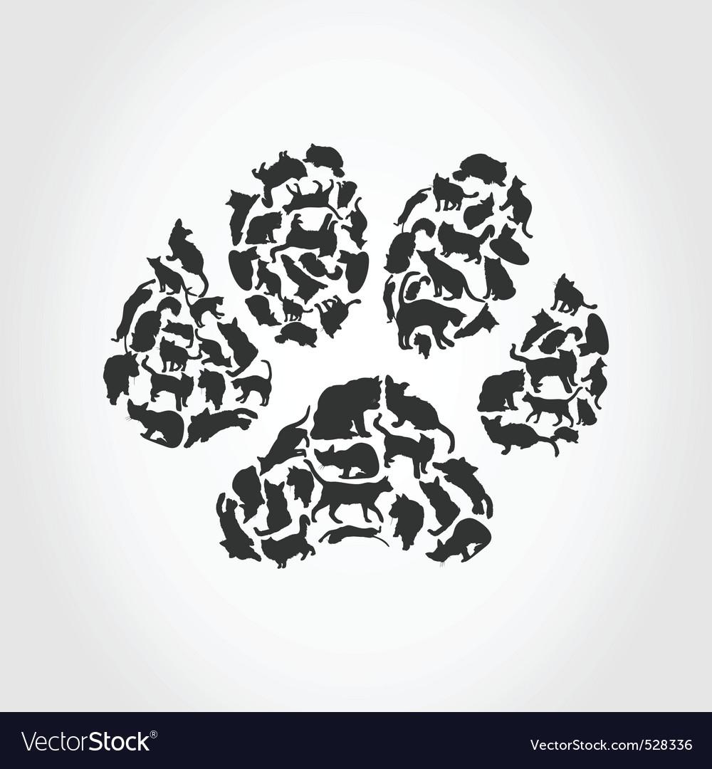 Cat paw print vector image