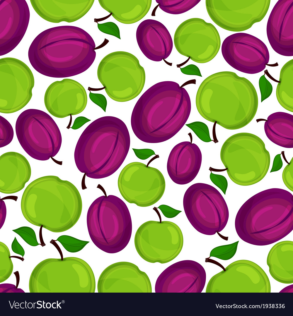 Seamless pattern with plum and apple vector image