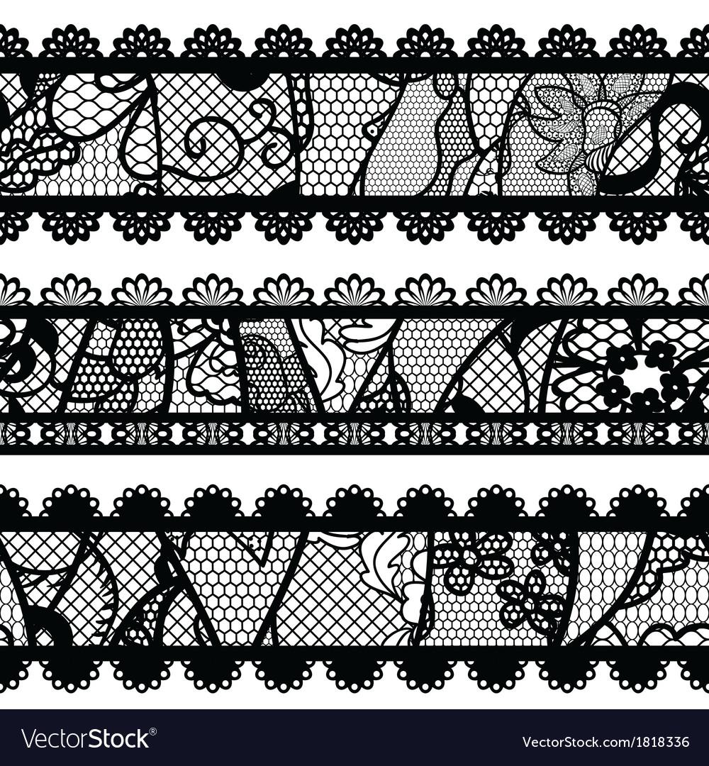 Set of lacy vintage trims vector image