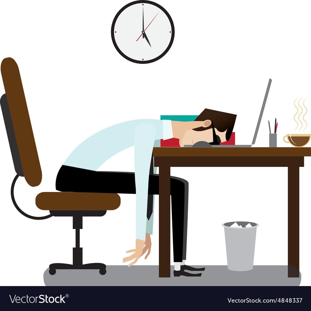 tired office man sleeping at desk royalty free vector