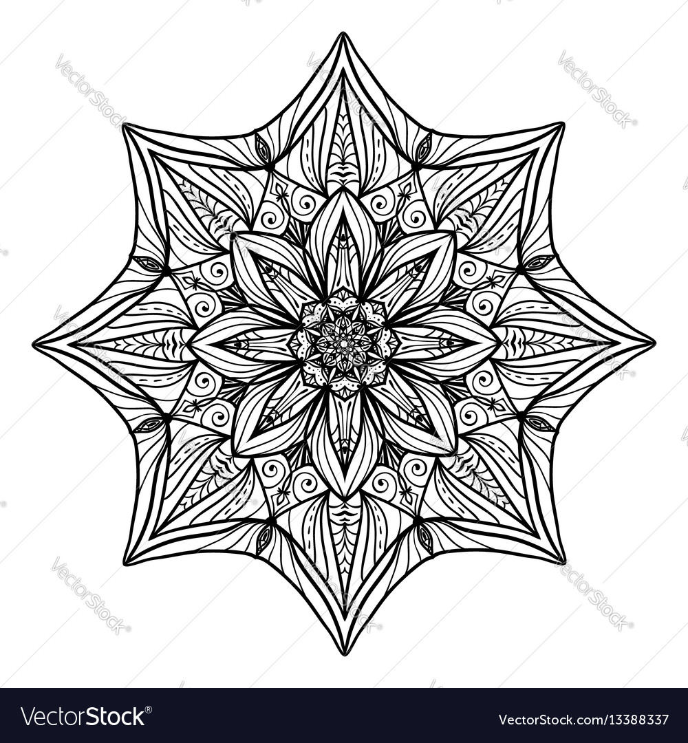 Beautiful deco floral mandala round vector image