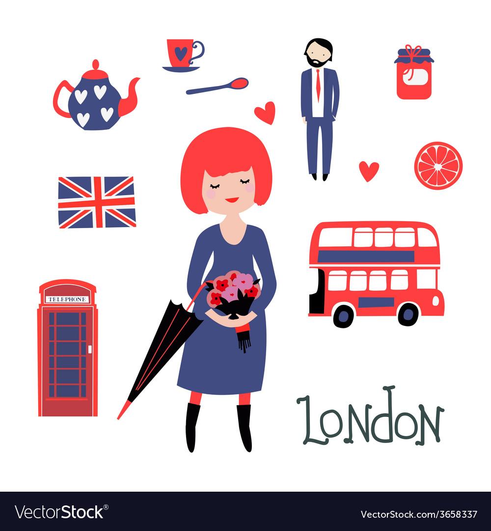 Romantic London clipart vector image