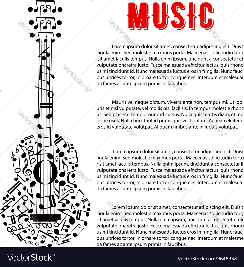 Poster design notes - Musical Concert Poster Design With Guitar Of Notes Vector Image