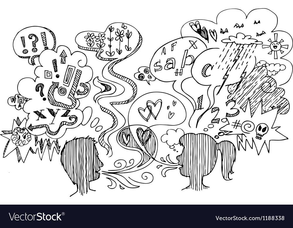 Couple dialogue sketchy doodles vector image