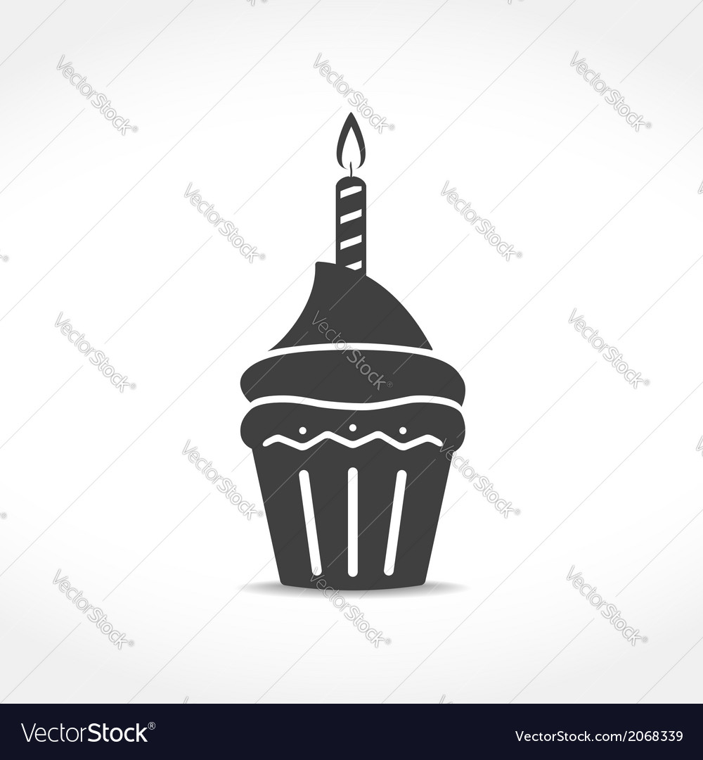 Birthday Cupcake Icon vector image
