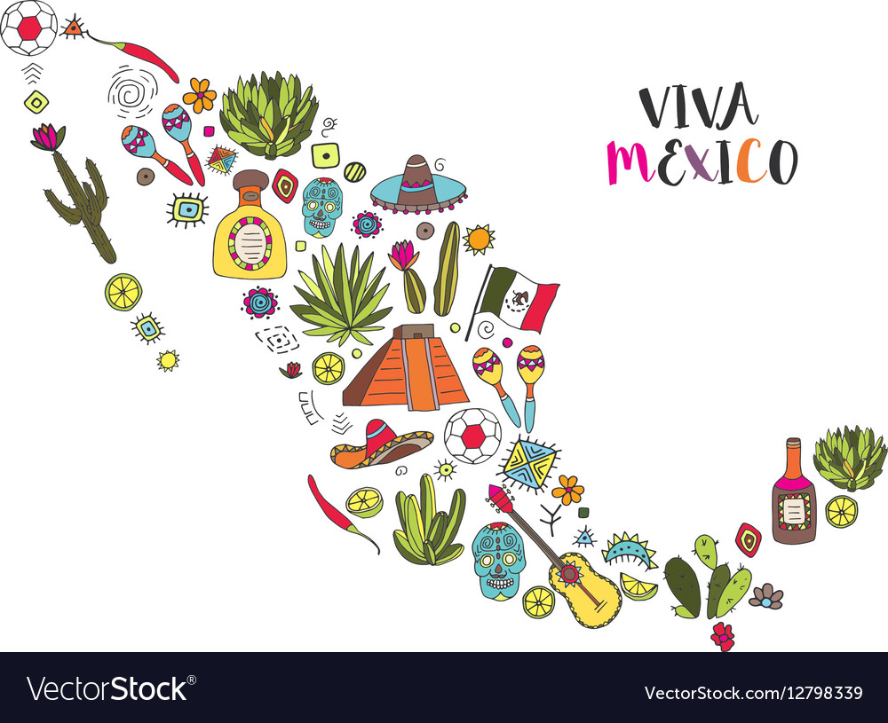 Doodles set of Mexico in geographic map vector image