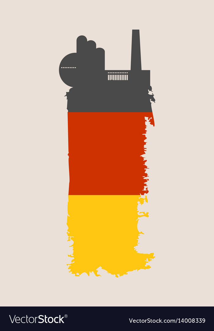 Factory icon and grunge brush germany flag vector image