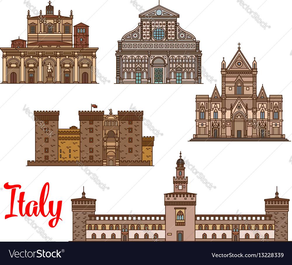 Italian architecture travel landmarks icon set vector image