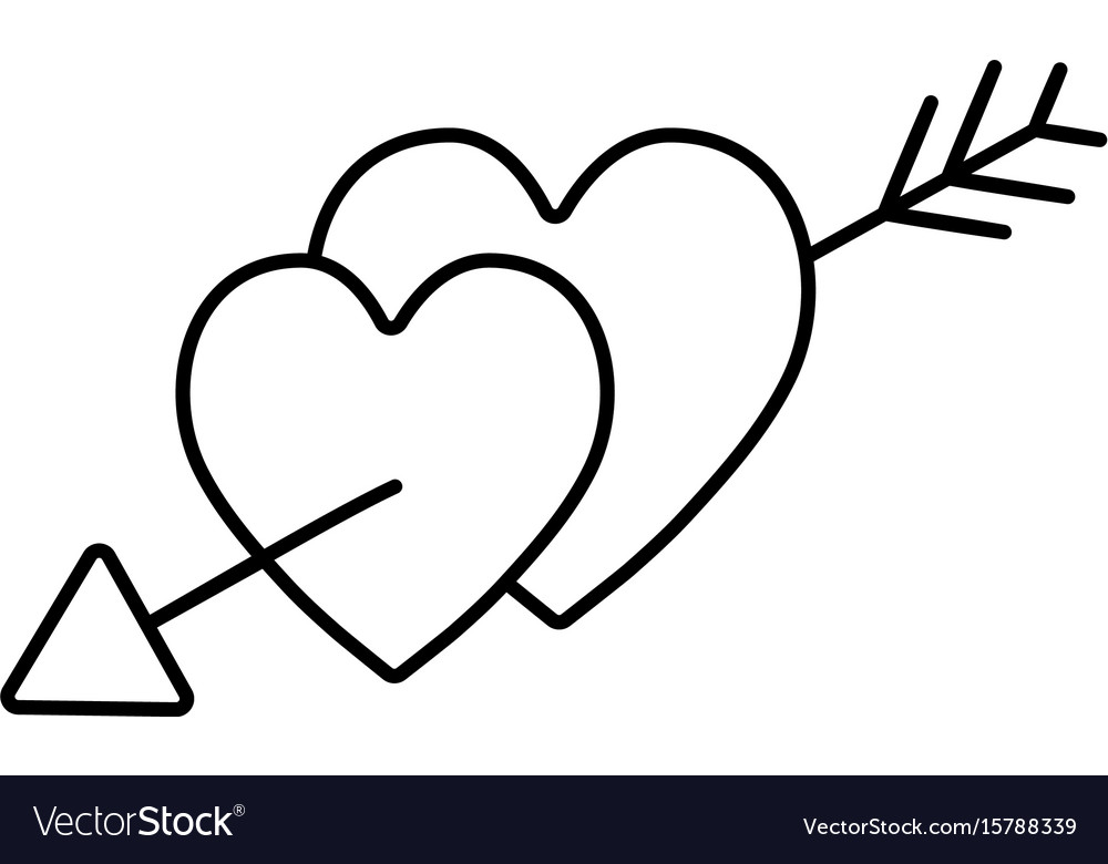 Line hearts with arrow to symbolic of passin and vector image