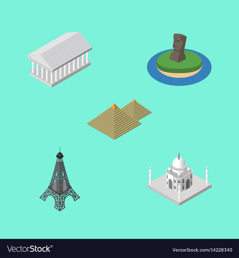 Isometric architecture set of chile paris athens vector image