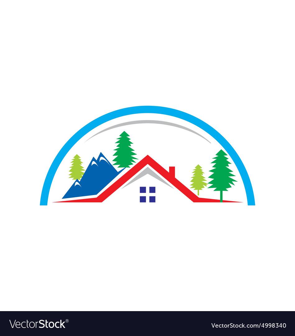 Mountain Village Cottage House Logo Vector Image