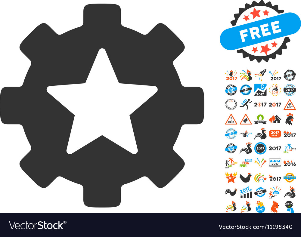 Star Favorites Options Gear Icon With 2017 Year vector image