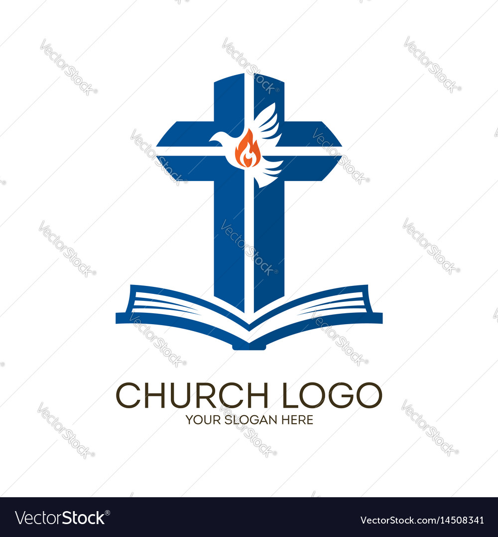 Bible cross and holy spirit dove vector image