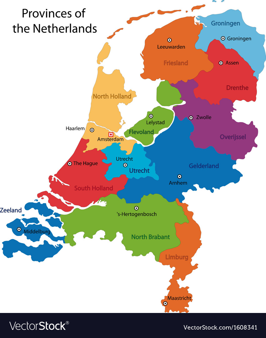 Netherlands map Royalty Free Vector Image VectorStock