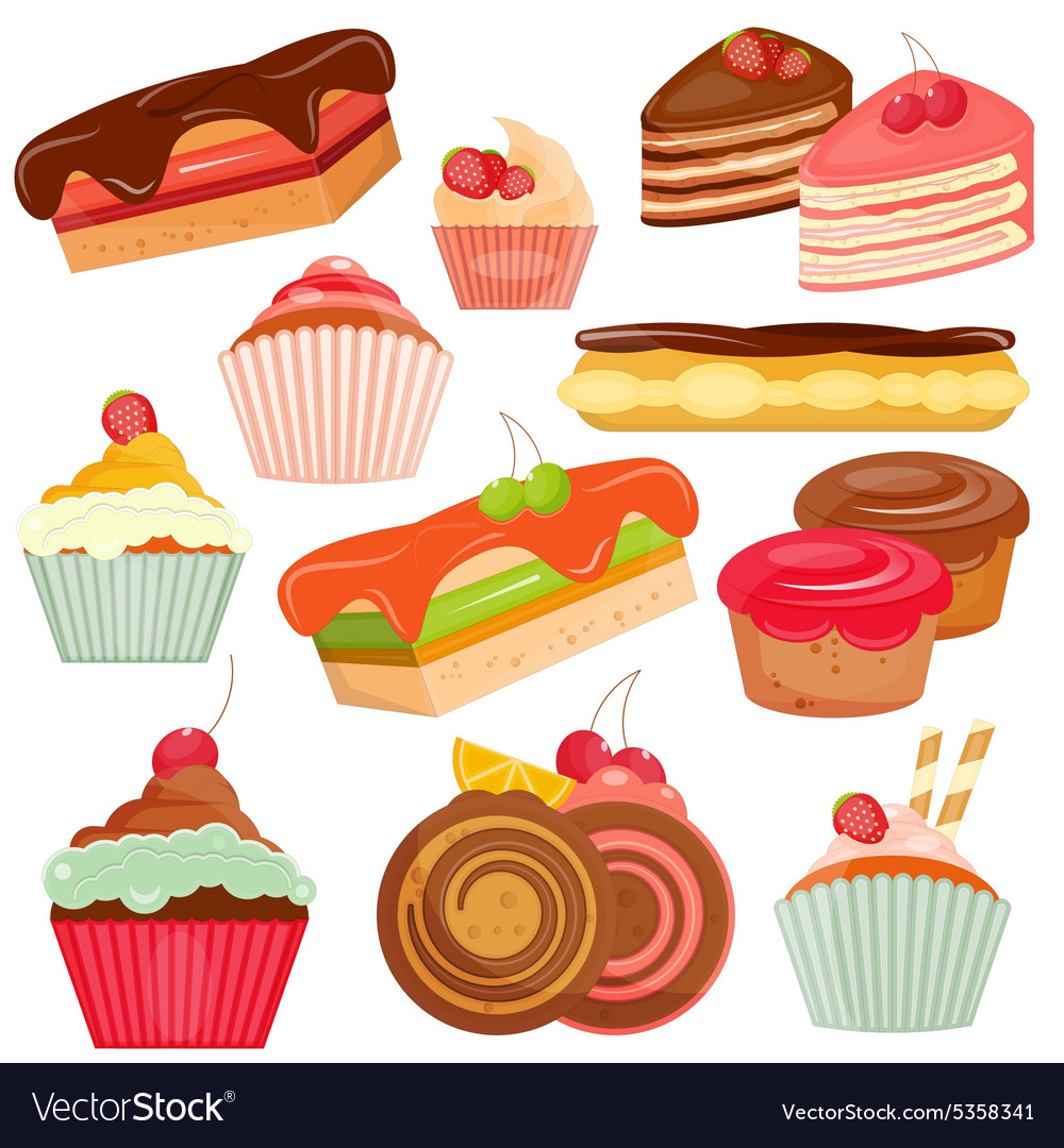 Set of Cakes Isolated vector image