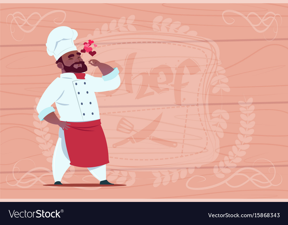African american chef cook happy smiling cartoon vector image