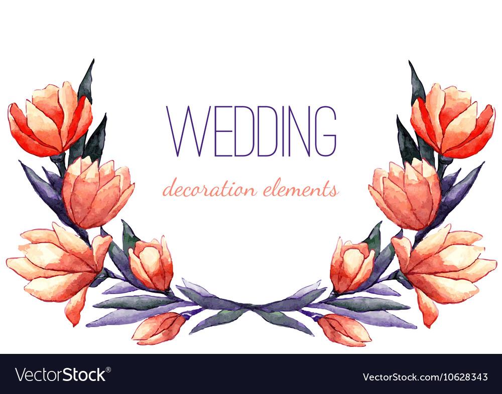 Watercolor tulips wreath for wedding decor vector image