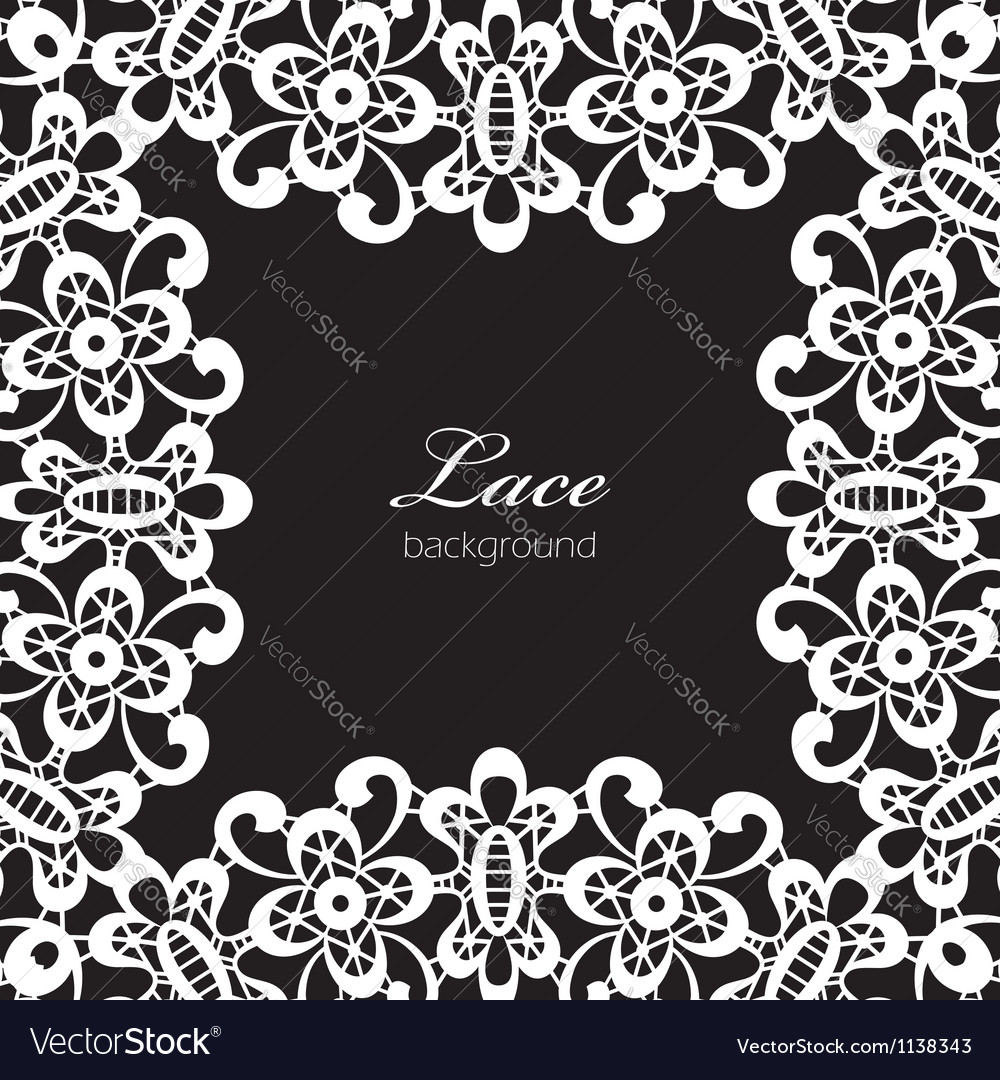 White lace on black vector image