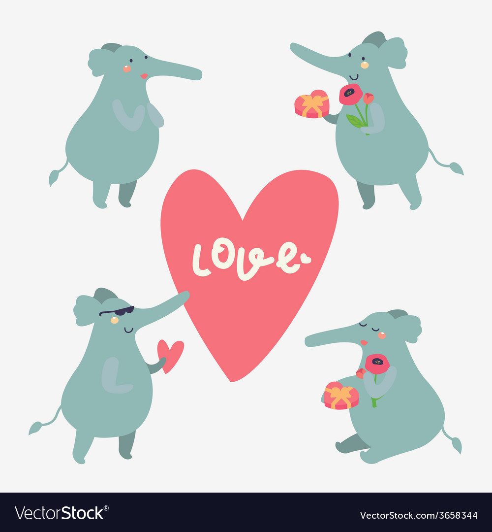 Romantic elephant characters vector image