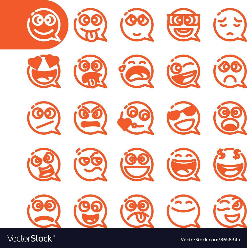 Set of emoji speech bubble emoticons vector image