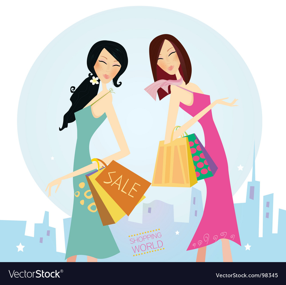 Shopping woman's vector image