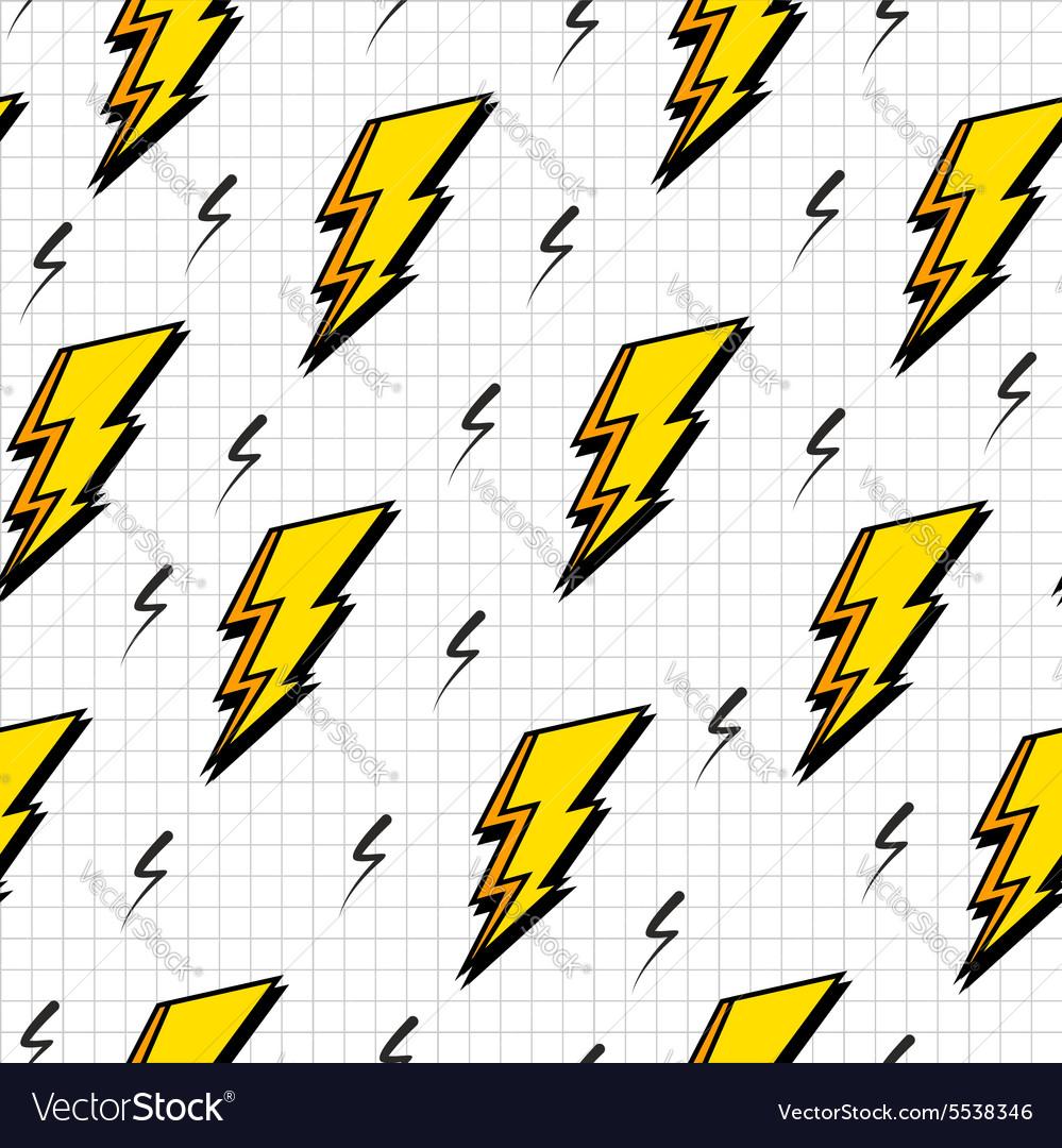Retro 80s lightning bolts pattern vector image