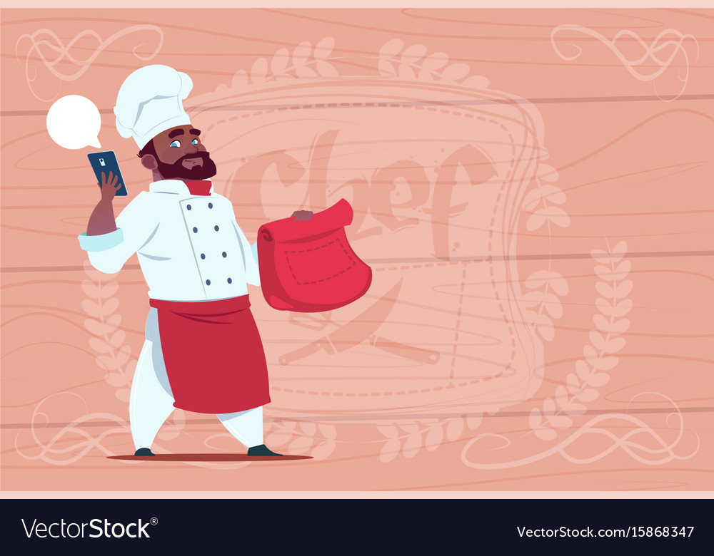 African american chef cook holding packet with vector image