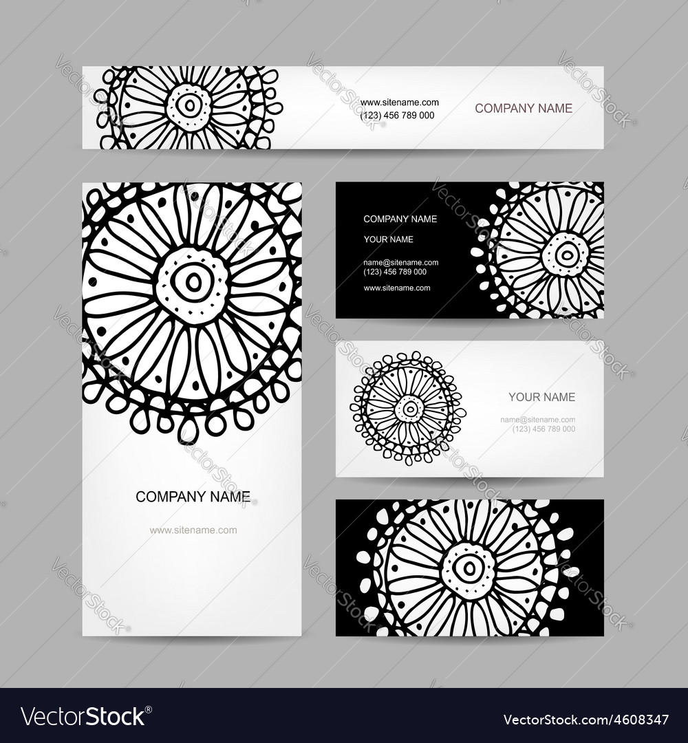 Business cards collection abstract floral design Vector Image