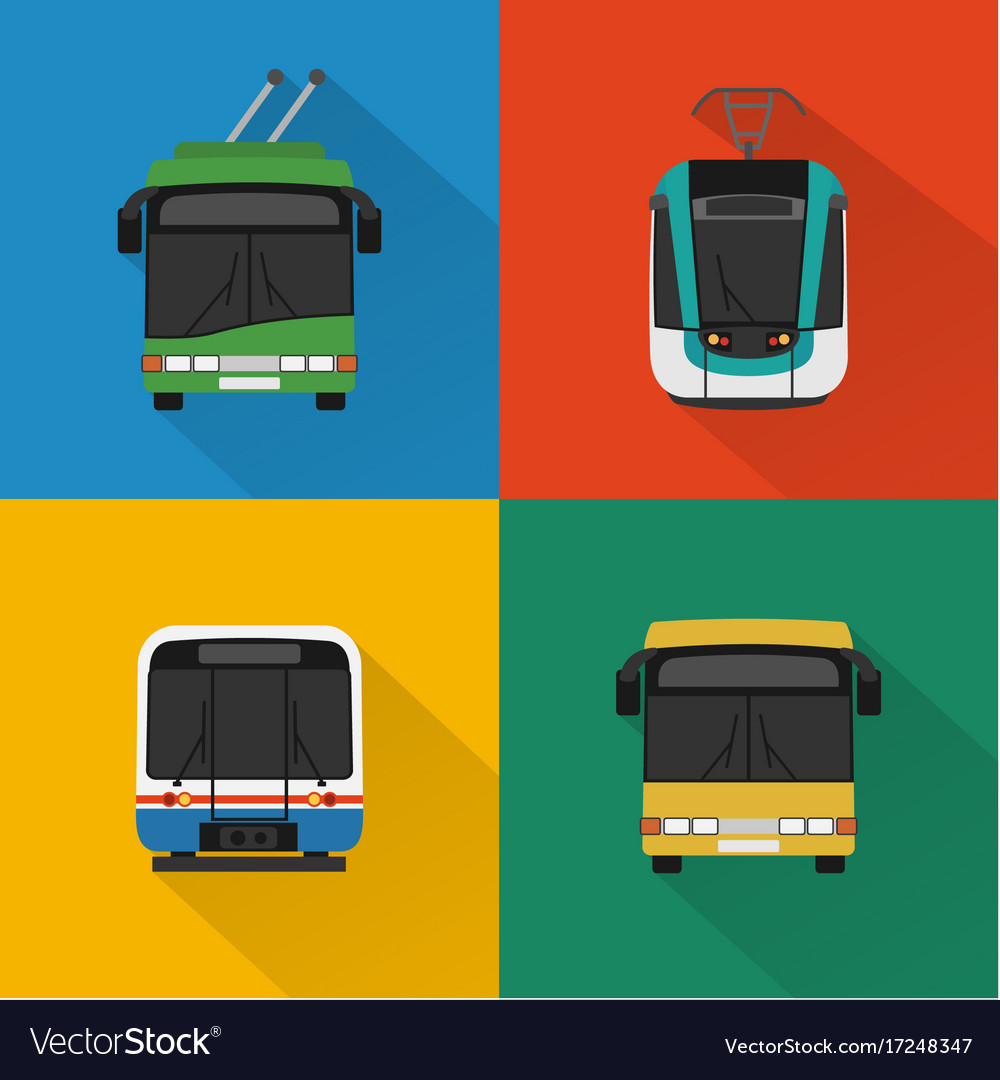 Urban public transport set vector image