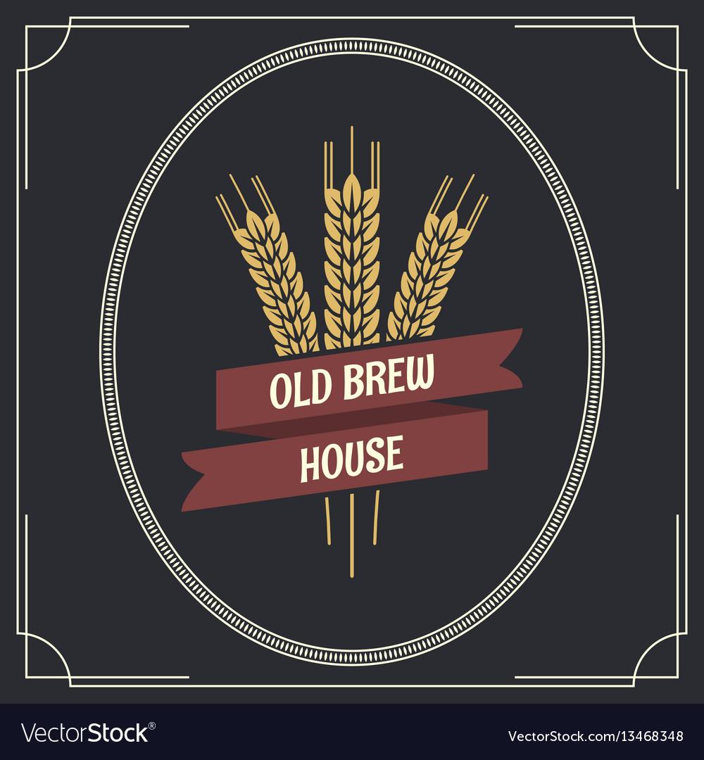 Beer vintage label logo background vector image