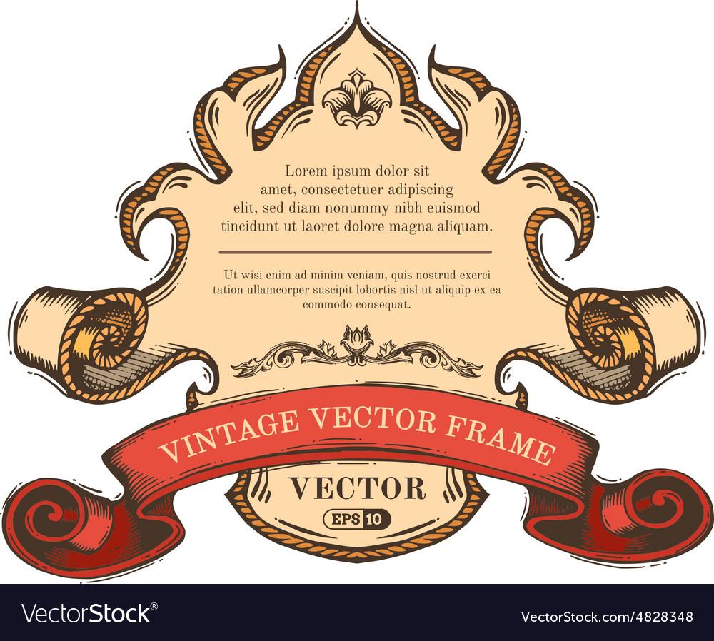 Vintage border frame isolated on white background vector image