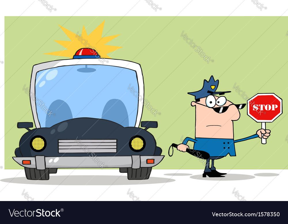 Police traffic stop cartoon vector image