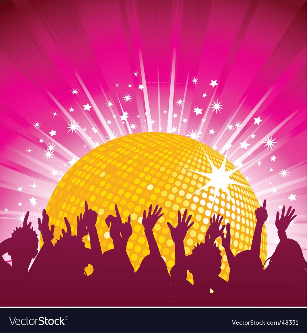 Orange disco ball and crowd vector image