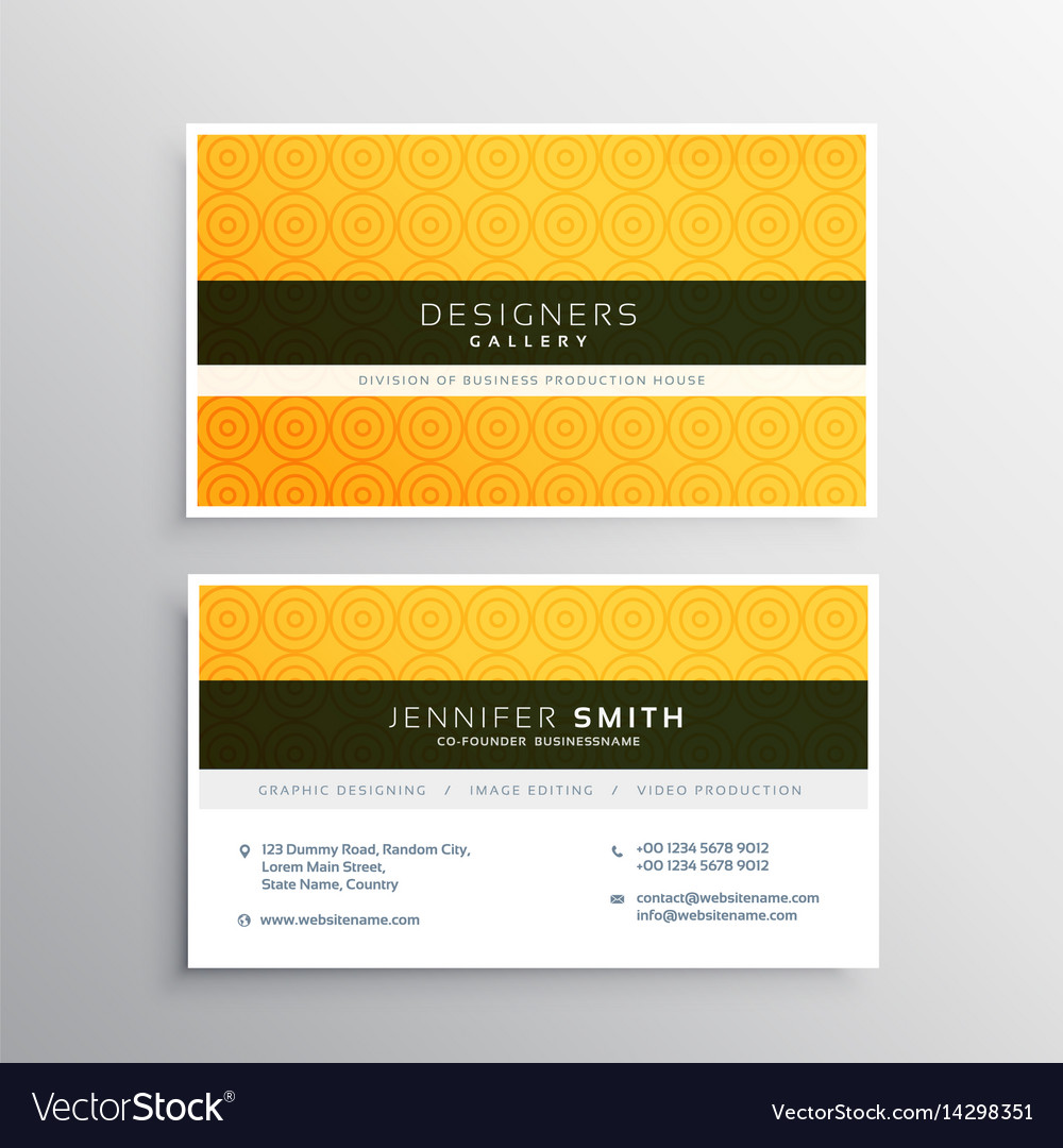 yellow minimal elegant business card template vector image