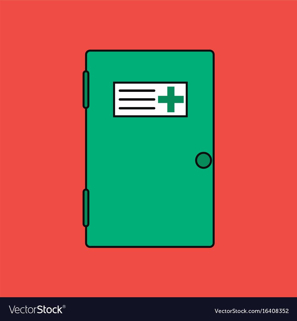 Flat icon design collection doctors door