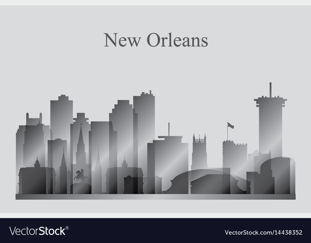 New orleans city skyline silhouette in grayscale vector image