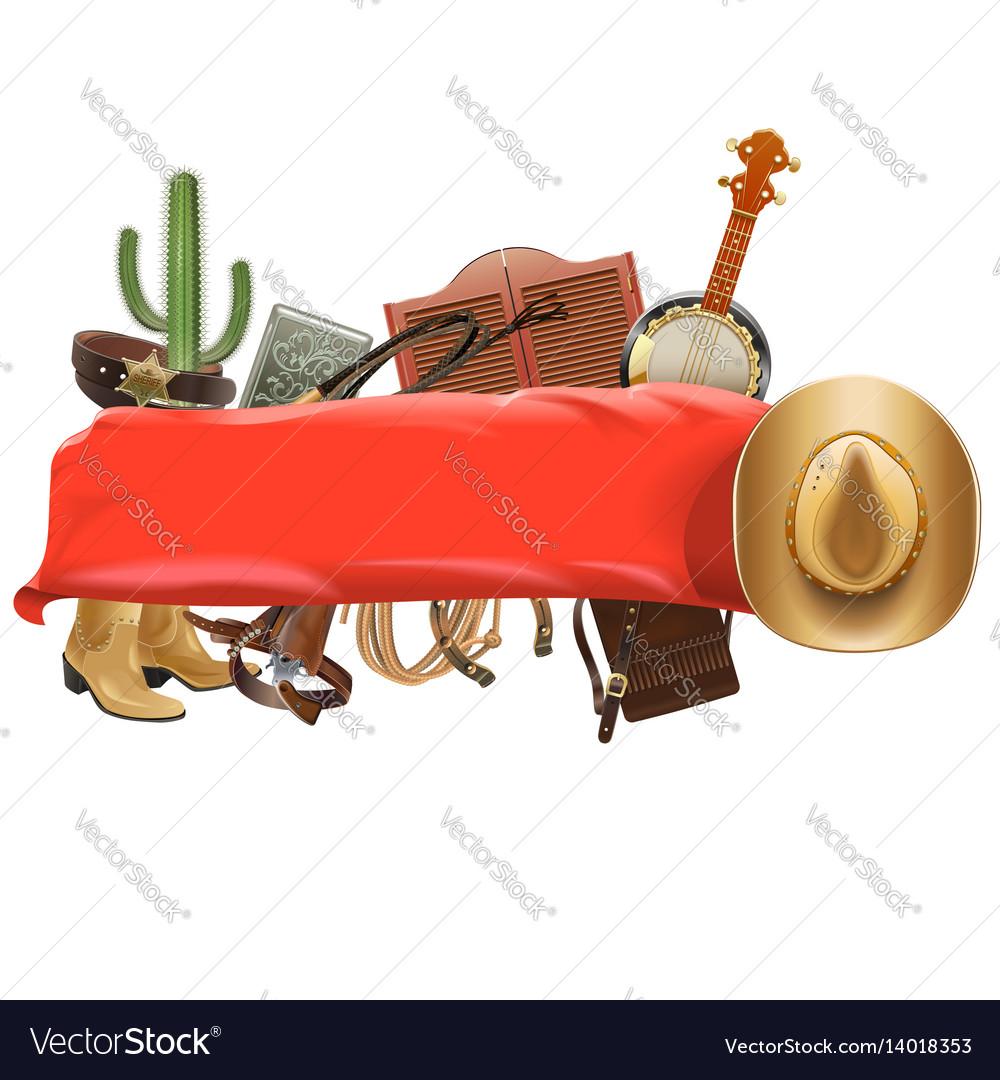 Festive cowboy banner vector image