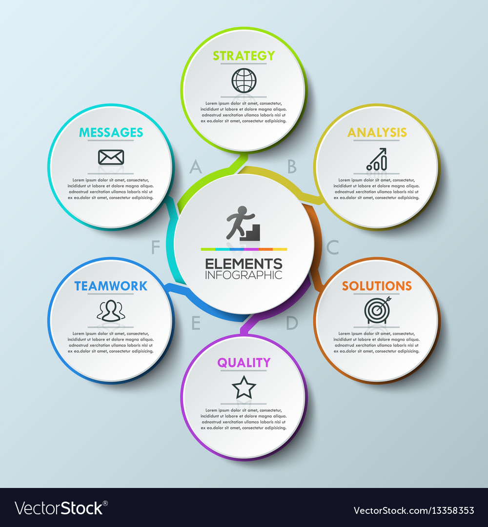 Infographic design template circular chart with 6 vector image