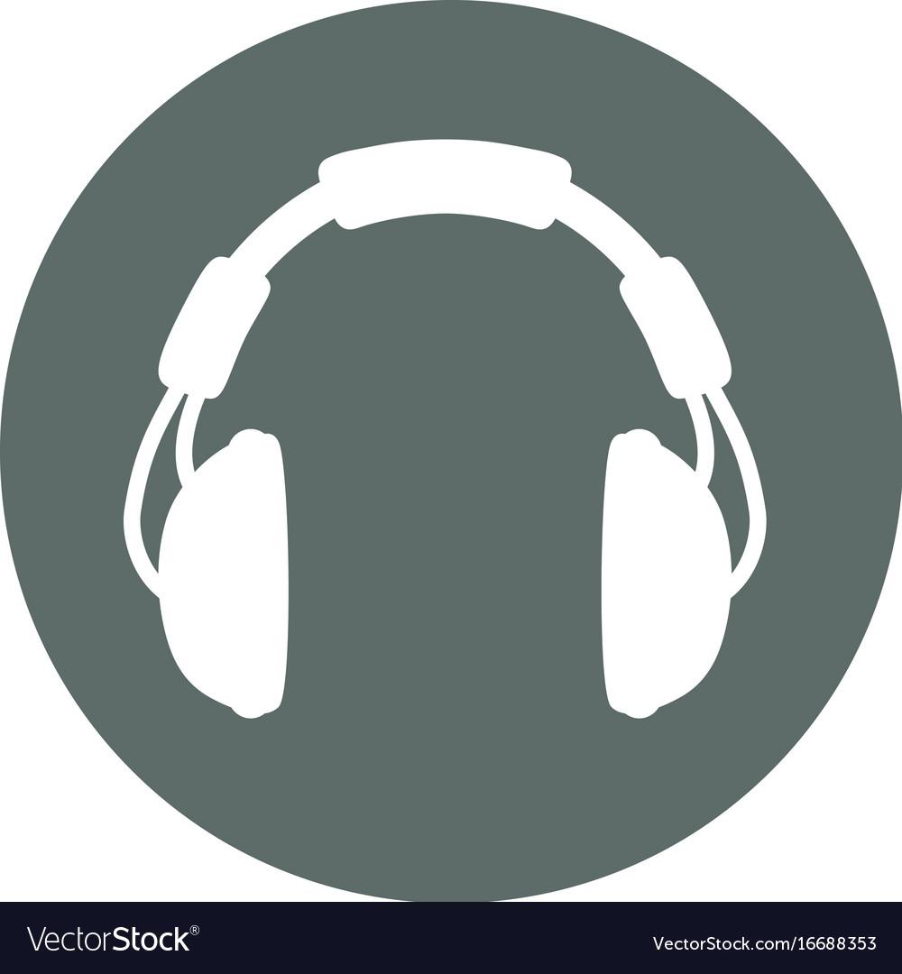 Music headphones round icon vector image