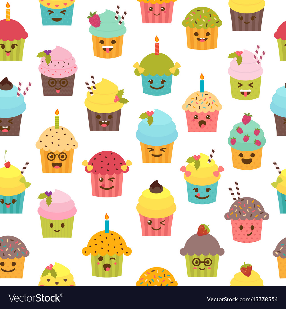 Seamless pattern with cupcakes and muffins vector image