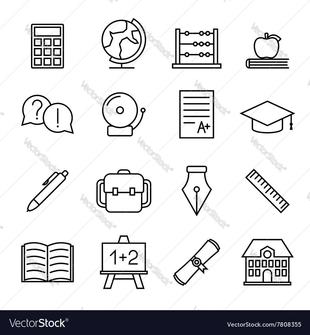 Educational study line icons vector image