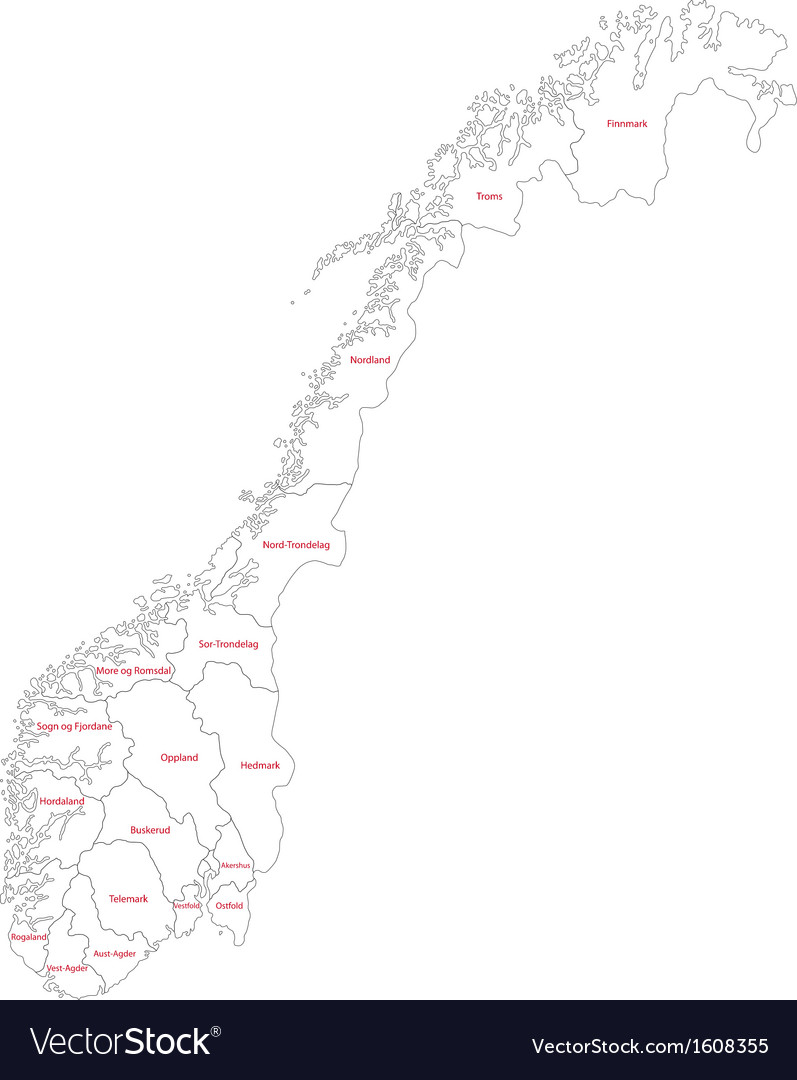 Outline Norway Map Royalty Free Vector Image VectorStock - Norway map eps
