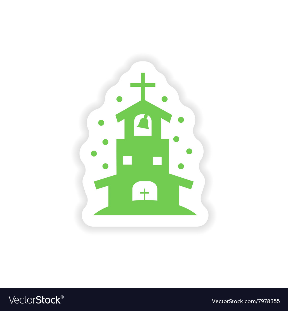 sticker of black silhouette of church in white