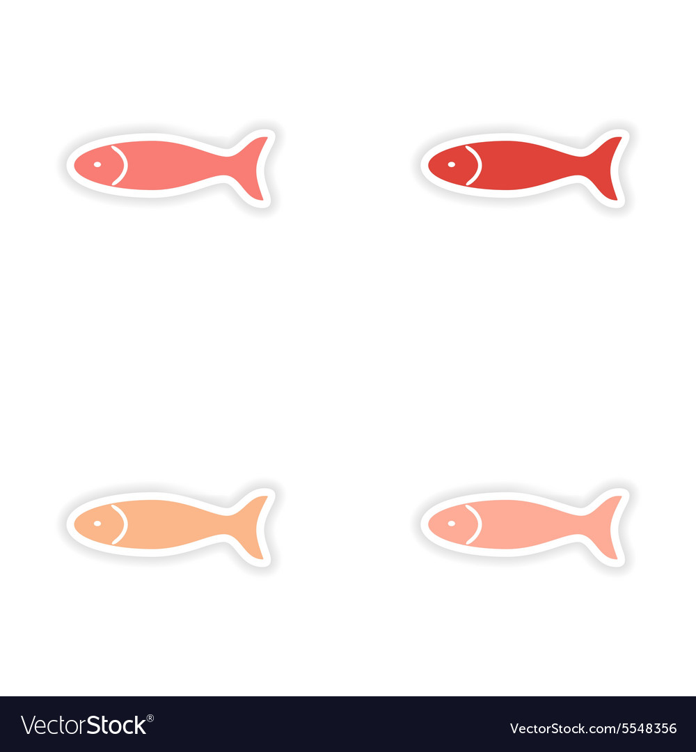 Assembly realistic sticker design on paper fish